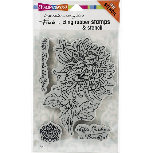 Garden Mum Stampendous Cling Mount Rubber Stamps
