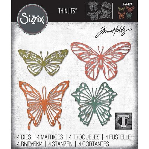 "Sizzix Thinlit Dies ""Scribbly Butterflies"" by Tim Holtz 4pcs"