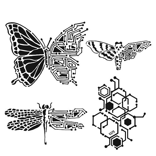 """TCW 12x12 Stencil """"Natures Circuitry"""""""