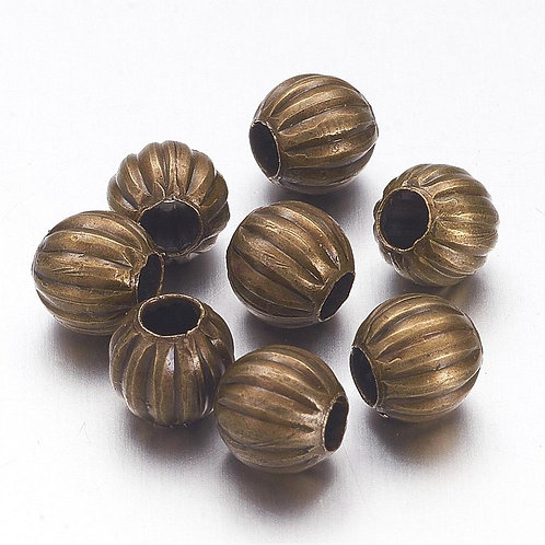 8mm Iron Corrugated Spacer Beads, Round, Antique Bronze 100pcs