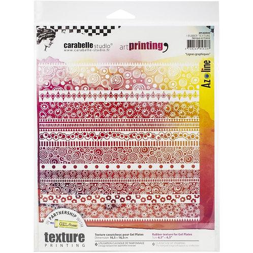 """Carabelle Studio Art Printing Rubber Texture Plate """"Lignes graphiques"""""""""""