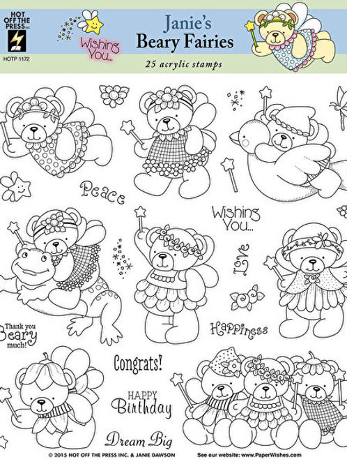 Janie's Beary Fairies -  25 Piece Clear Silicon Stamp Set