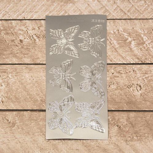 Craft & Scrapbooking Stickers Silver Butterflies