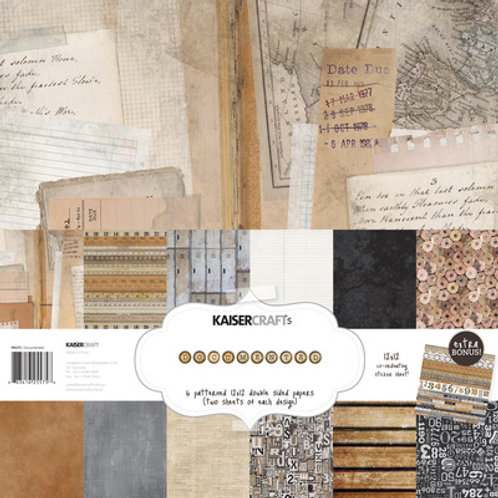 "Kaisercraft 12x12 Paper Pack with Bonus Sticker Sheet ""Documented"""