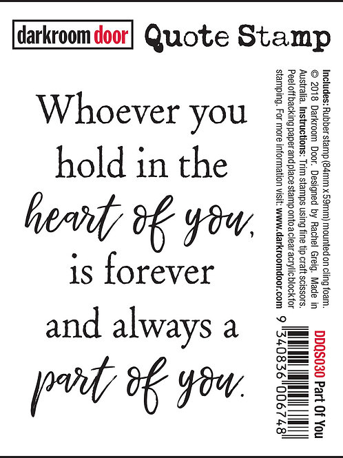 "Darkroom Door - ""Part of You"" Quote Rubber Stamp"
