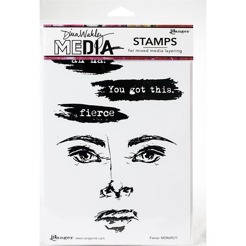 """Dina Wakley Mixed Media Cling Rubber Stamps """"Fierce"""""""