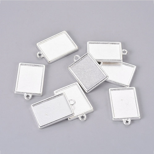 Rectangle Silver Cab  29X18X2MM 5pcs
