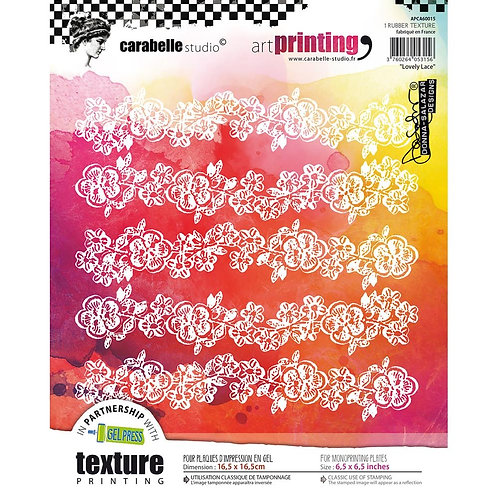 "Carabelle Studio Art Printing Square Rubber Texture Plate ""Lovely Lace"""
