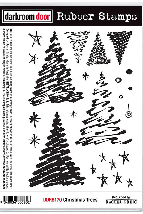 "Darkroom Door - ""Christmas Trees""  Cling Rubber Stamp"