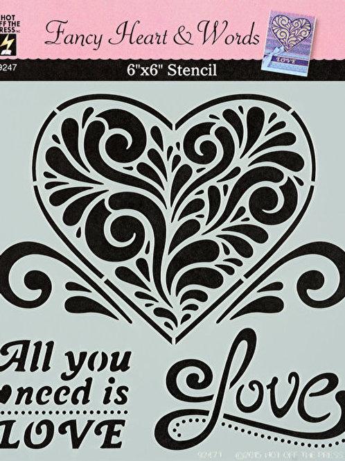 6x6 Plastic Stencil - Fancy Heart & Words