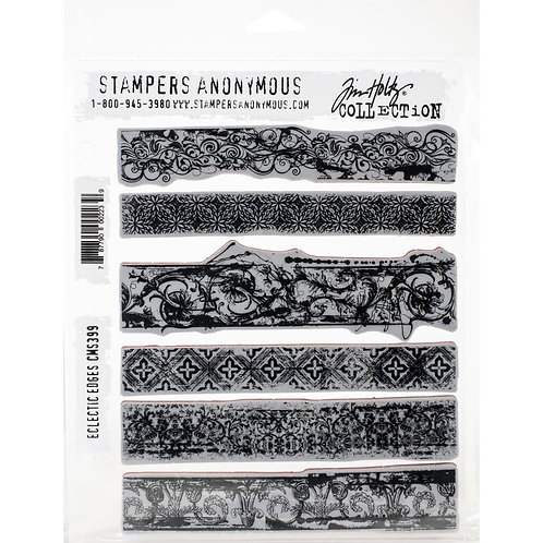 """""""Eclectic Edges"""" Tim Holtz Cling Stamps 7""""X8.5"""" by Stampers Anony"""