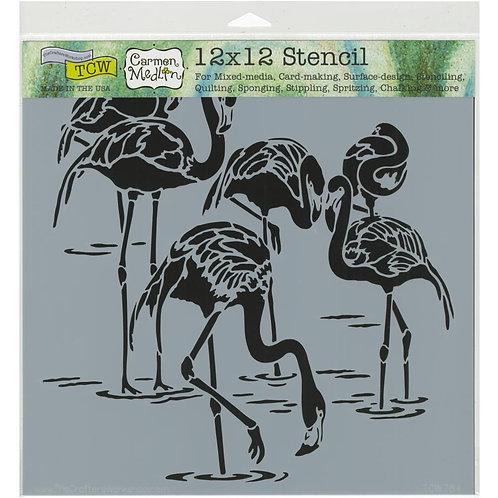 """TCW 12x12 Stencil """"Flamingos"""""""
