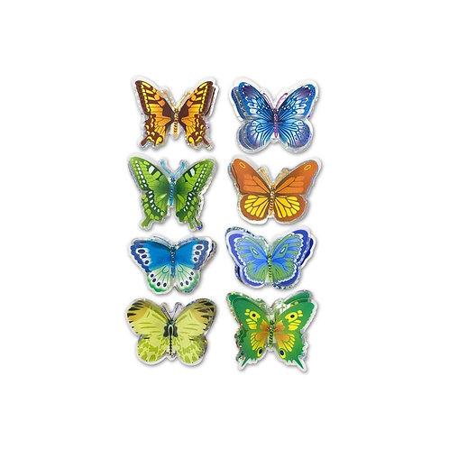 Multicraft 3D Pop-Up Foil Butterfly Stickers 8/Pkg
