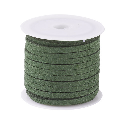 Olive Flat Faux Suede Cord, Faux Suede Lace 3mm x 1.5mm x 5m