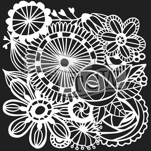 """TCW 12x12 Stencil """"Blooming Garden"""""""
