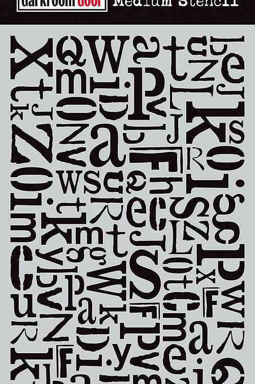 "Darkroom Door Medium Stencil - 9x6 ""Alphabet Jumble"""