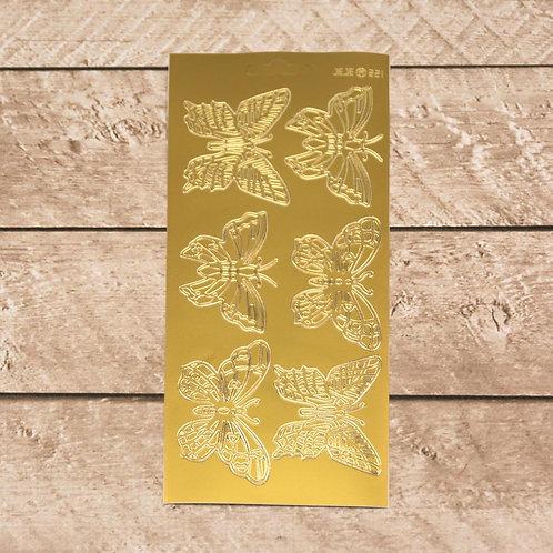 Craft & Scrapbooking Stickers Gold Butterflies
