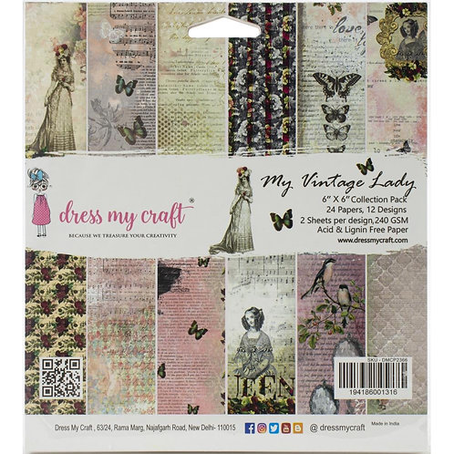 "Dress My Craft  6""x 6."" Paper Pad 24 pages ""My Vintage Lady"""