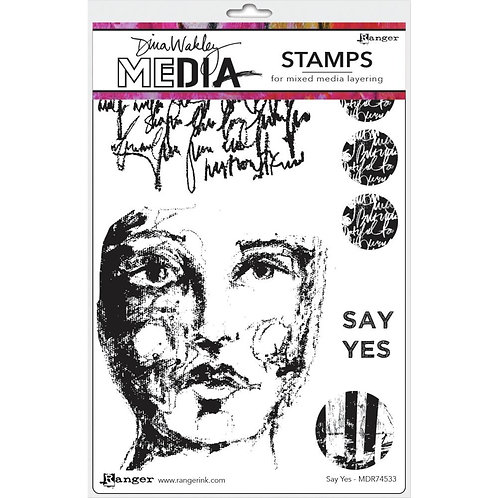 "Dina Wakley Media Cling Rubber Stamps ""Say Yes"""