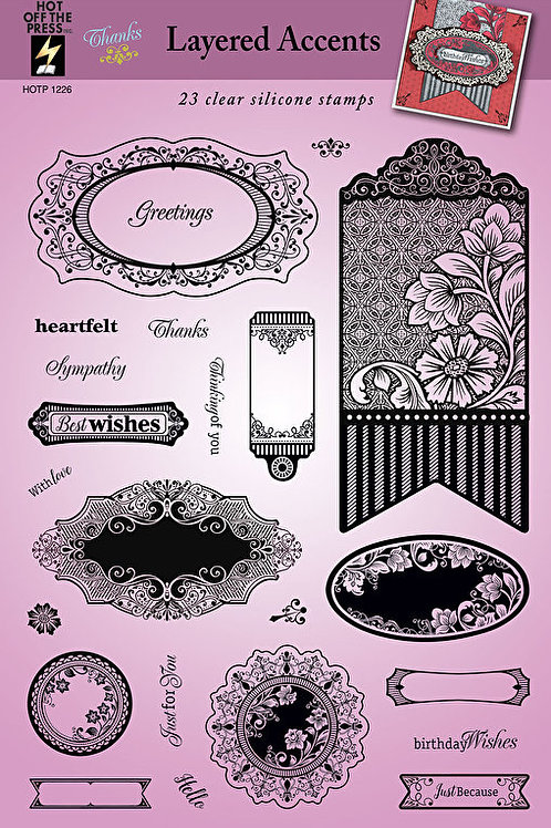 """""""Layered Accents"""" Stamps -  23 Piece Clear Silicon Stamp Set"""