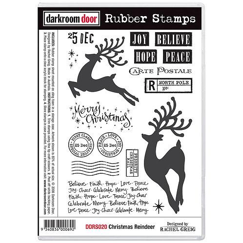 Christmas Reinder -Darkroom Door Cling Rubber Stamp