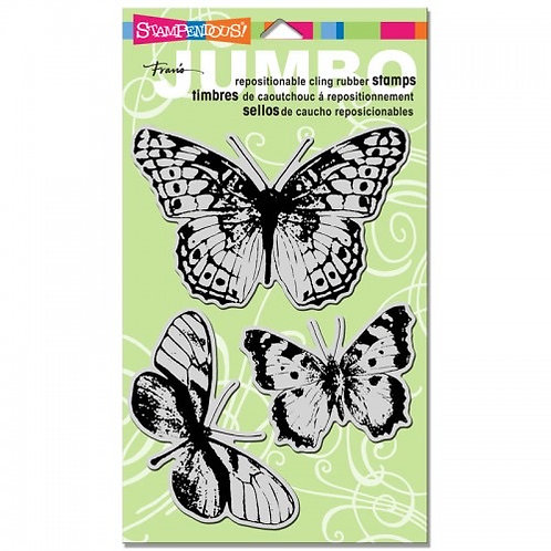 Jumbo Butterfly Trio Stampendous Cling Mount Rubber Stamps