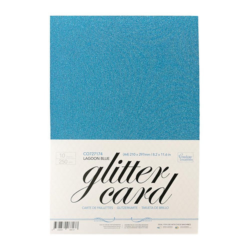 Glitter Card - Lagoon Blue  A4 - 250gsm (10 sheets per pack)