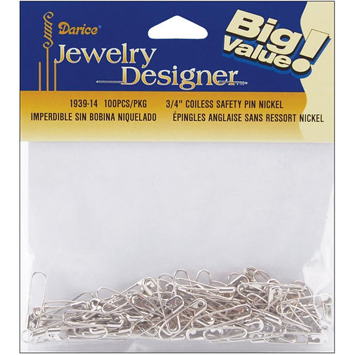 Coilless Safety Pin - Silver - .75 Inches - 100 Pieces - Big Value