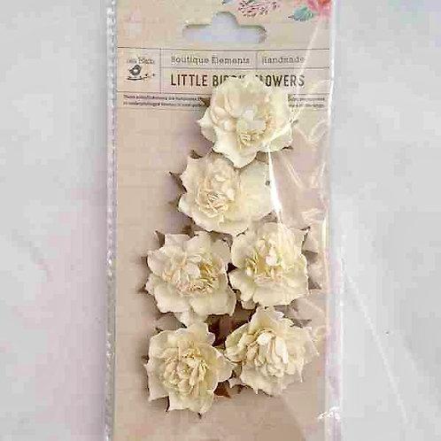 Little Birdie Cream Flowers 6 pcs