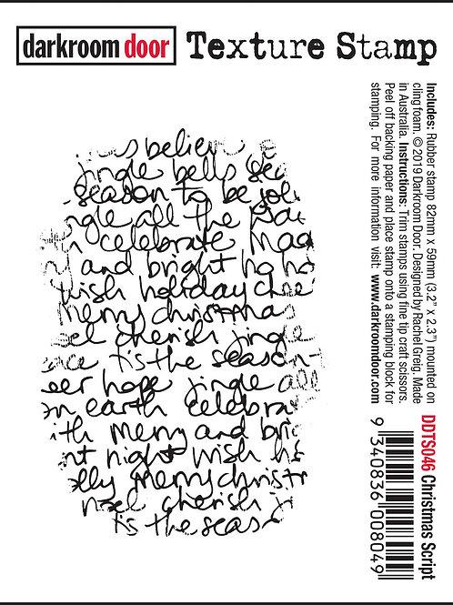 """Darkroom Door - """"Christmas Script"""" Texture Rubber Stamp"""