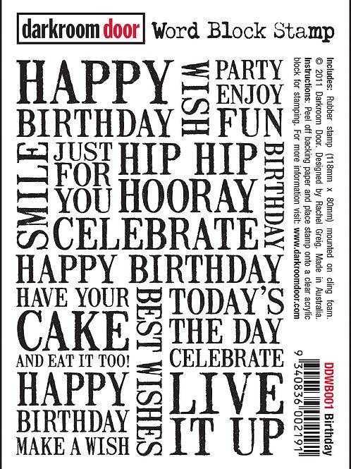 Birthday - Darkroom Door Word Block Stamp
