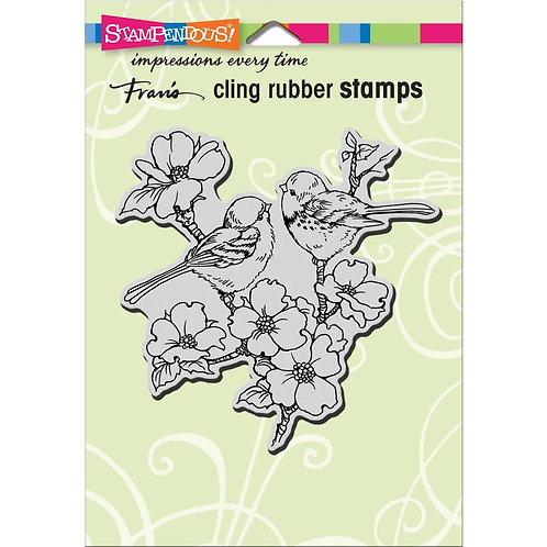"""Dogwood Birds""  Stampendous Cling Mount Rubber Stamps"