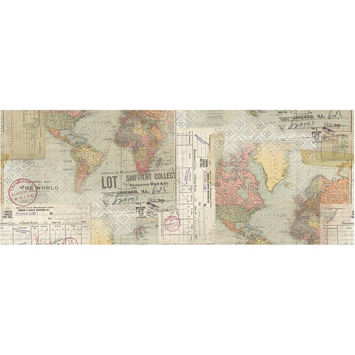 """Tim Holtz Map Idea-Oligy Collage Paper 6"""" x 6 yards"""