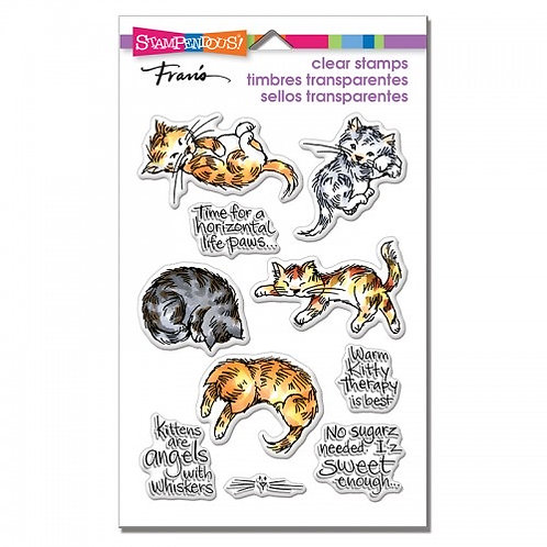 """Kitty Therapy"" Stampendous Clear Stamps by Laurel Birch 4""x6"""
