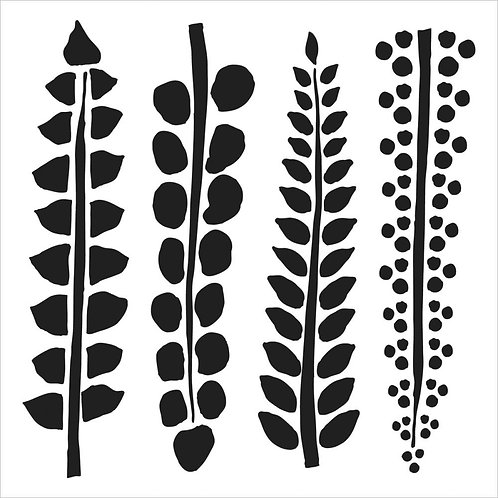 "TCW - 6x6 Stencil -  ""Mini Four Ferns"""