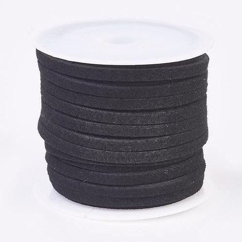 Black Flat Faux Suede Cord, Faux Suede Lace 3mm x 1.5mm x