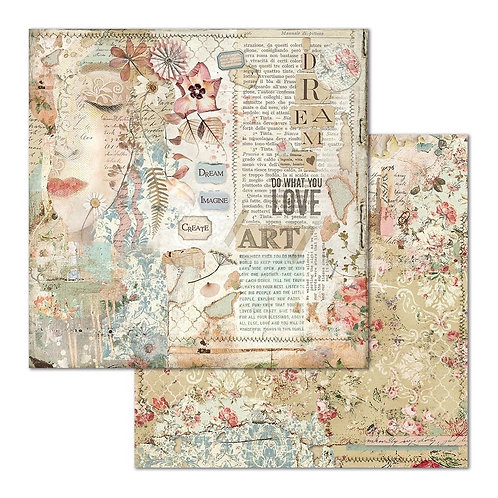 "Love Art Face Stamperia Double Sided 12"" x12"" Paper   1"
