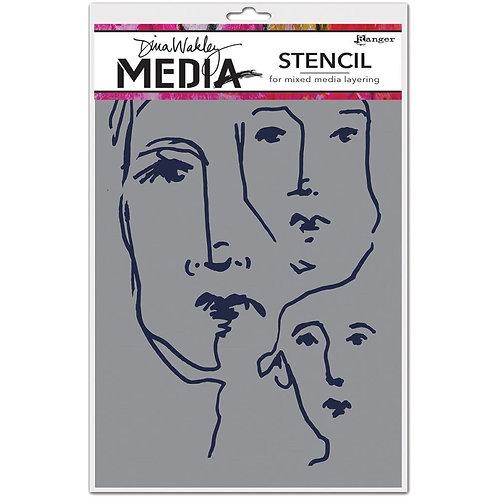 "Scribbled Faces Dina Wakley Media  Stencil  9""X6"""