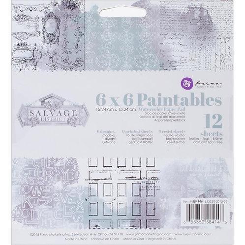 """Prima Marketing Paintables Watercolor Paper Pad 6""""X6"""" 12/Pkg"""