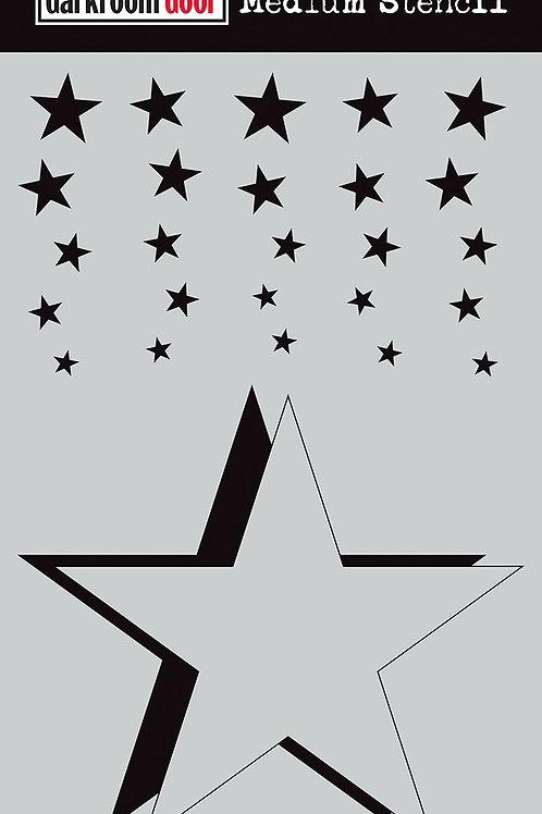 """Darkroom Door Medium Stencil - 9x6 """"Cascading Stars"""""""