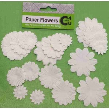 White Paper Flowers pk of 32