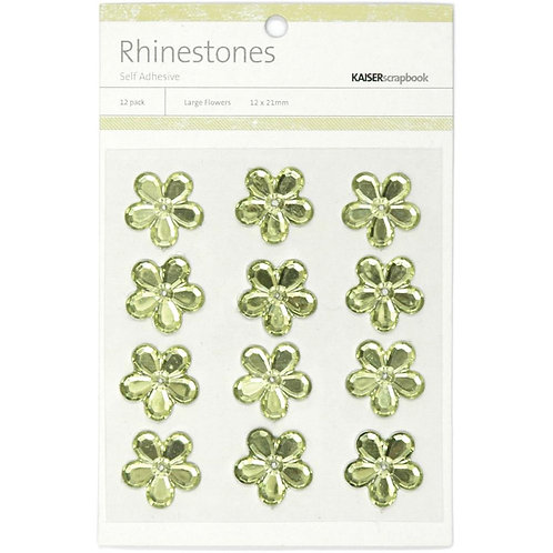 "KAISERCRAFT-Self-Adhesive Flower Rhinestones.12pcs ""Mint"""