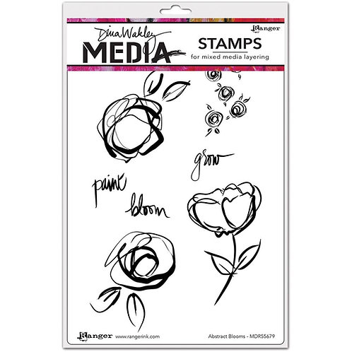 "Dina Wakley Mixed Media Cling Rubber Stamps ""Abstract Blooms"""