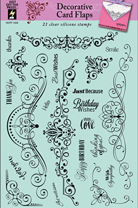 Decorative Borders & Scrolls-  21 Piece Clear Silicon Stamp Set