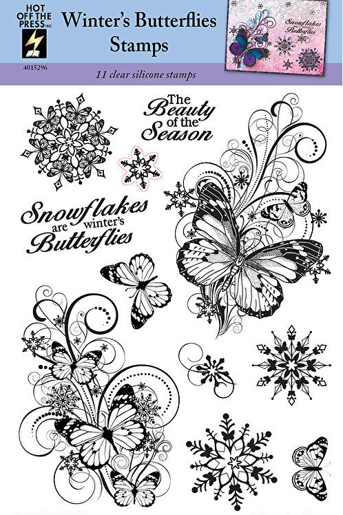 """Winter's Butterflies"" Stamps -  11 Piece Clear Silicon Stamp Set"