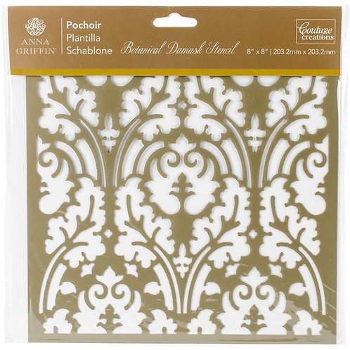 """Couture Creations Botanical Damask Stencil 8""""X8"""""""