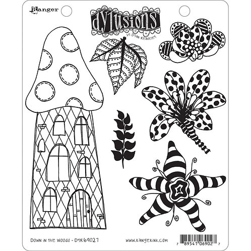 """Dyan Reaveley's Dylusions Cling Stamp  8.5""""X7""""Down in the Woods"""""""