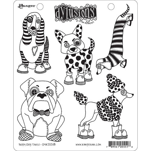 "Dyan Reaveley's Dylusions Cling Stamp  8.5""X7 ""Puppy Dog Tales"""