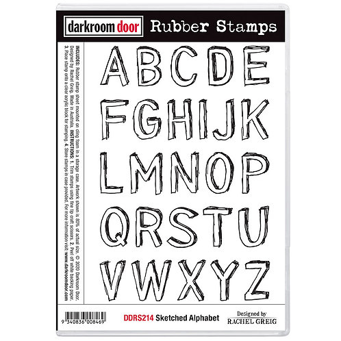 "Darkroom Door - ""Sketched Alphabet"" Cling Rubber Stamp"
