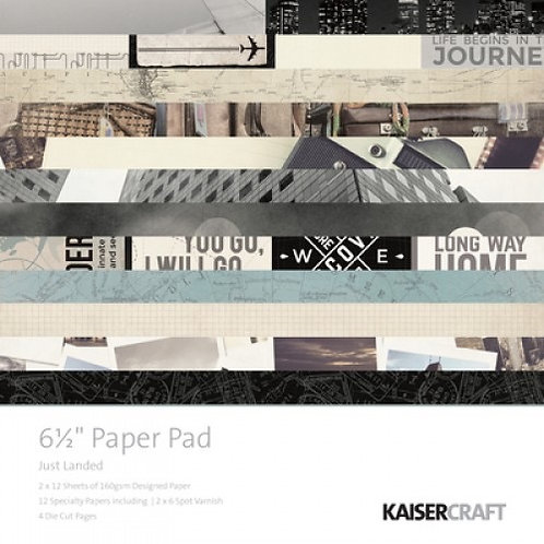 """Kaisercraft  6.5""""x 6.5"""" Paper Pad 24 pages """"Just Landed"""""""